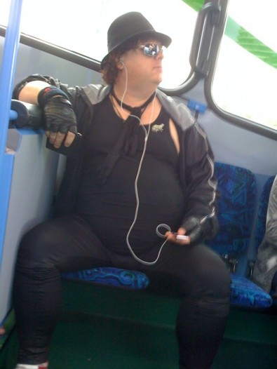 Rockstar in black on the bus